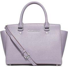 MICHAEL Michael Kors Selma Medium Top-Zip Satchel Bag found on Polyvore featuring bags, handbags, purple, satchel hand bags, monogrammed purses, zipper purse, monogram handbags and satchel purse