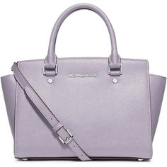 MICHAEL Michael Kors Selma Medium Top-Zip Satchel Bag ($320) ❤ liked on Polyvore featuring bags, handbags, lilac, zip top bag, satchel purse, zip top handbags, monogrammed purses and satchel bag