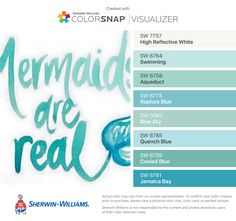 I found these colors with ColorSnap® Visualizer for iPhone by Sherwin-Williams: High Reflective White (SW Swimming (SW Aqueduct (SW Rapture Blue (SW Blue Sky (SW Quench Blue (SW Cooled Blue (SW Jamaica Bay (SW Coastal Paint Colors, Aqua Paint, Turquoise Painting, Bedroom Paint Colors, Interior Paint Colors, Paint Colors For Home, Room Colors, Sky Blue Paint, Turquoise Paint Colors