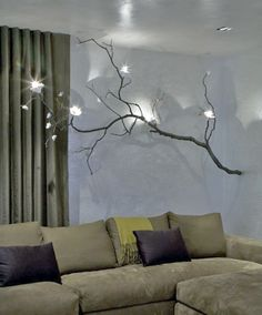 Wall branch chandelier Home And Decor Branch Chandelier, Branch Decor, Unique Chandelier, Diy Design, Lighted Branches, Tree Branches, Big Living Rooms, Diy Casa, Design Apartment