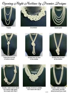 Same Necklace, Opening Night Pearls, worn many different ways. I often show these (and other ways) at my jewelry shows. Here is a good visual to remember some of these ways!