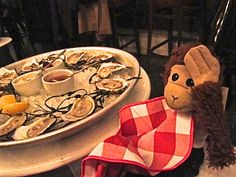 We ordered Pepe a dozen Oysters but we forgot. Monkeys don't like Oysters!