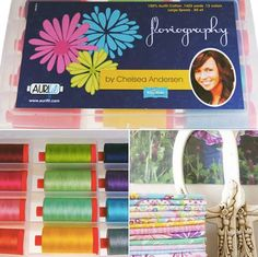 Cheerful. light and happy colours are what can be found in the new Aurifil collection by Chelsea Saberon Andersen from Pink Fig Design, Twelve yummy colours in 50wt hand picked to perfectly match her Riley Blake Designs fabric line Floriography. To read more about this designer, her patterns and collections please visit http://www.chelseaandersen.com/