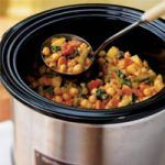 vegetable and Chickpea Curry- slow cooker Aromatic Indian spices mingle with chickpeas, green beans, and potatoes. Coconut milk is stirred into the cooked curry for a creamy finish. Serve over quick-cooking couscous. Healthy Slow Cooker, Slow Cooker Soup, Slow Cooker Recipes, Cooking Recipes, Cooking Tips, Slower Cooker, Vegetarian Curry, Chickpea Curry, Vegetarian Recipes