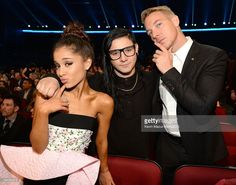 Recording artist Ariana Grande, recording artist/producer Skrillex and recording artist/producer Diplo attend the 2015 American Music Awards at Microsoft Theater on November 22, 2015 in Los Angeles, California.
