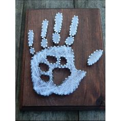 Paw print in hand print string art