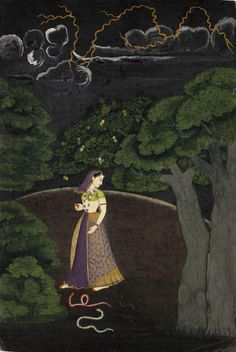 The woman braves the terrors of a dark and stormy night in order to meet her lover, and her broken ornaments lie on the ground near the threatening snakes. The painting is 'Pahari', or from the Punjab Hills. Pahari artists often depicted the theme of eight nayikas, showing ladies in different states of love and their behaviour. This nayika is called Abhisarika or 'fearless'. Guler, c.1760.  Click & enlarge for image's detail: http://media.vam.ac.uk/collections/img/2014/HC/2014HC2435_2500.jpg