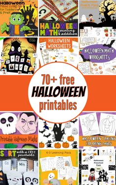 70+ (mostly) free Halloween Printables for kids! Halloween printable packs, Halloween crafts, Halloween games, Halloween math worksheets and much more! || Gift of Curiosity