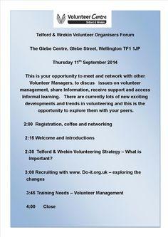 Telford and Wrekin Volunteer Centre    Next Telford and Wrekin Volunteer Organisers Forum