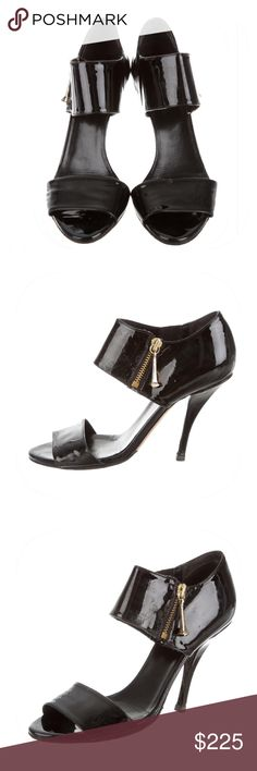 "GUCCI PATENT LEATHER ROUND-TOE SANDALS PRODUCT DETAILS: Black patent leather Gucci round-toe sandals with gold-tone hardware, covered heels and zip closure at sides. in very good used condition. Faint scuffs at soles. Heels 4.5"" Gucci Shoes Heels"