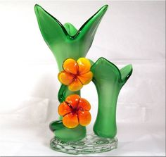 Bright Floral Art Glass Vase, Enchanting Fairytale Personality