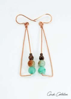 Copper wire geometric earrings long copper earrings triangle   Etsy Ethnic Jewelry, Jewelry Art, Warm Colour Palette, Warm Colors, Bubble Paper, Black And White Fabric, Triangle Earrings, Tribal Fashion, Copper Earrings