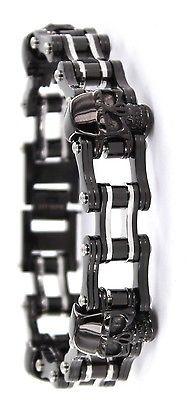 Men's Chain Bracelet Stainless Steel Black Skull Crystal Kodiak Jewelery JYBM646