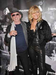 "Keith Richards Patti Hansen Photos - Musician Keith Richards (L) and wife Patti Hansen attend SiriusXM's ""One Night Only"" at Studio 54 on October 2011 in New York City. - SiriusXM Reopens Studio 54 For ""One Night Only"" Celebrity Couples, Celebrity Photos, Celebrity News, The Rolling Stones, Keith Richards, Mick Jagger, Layered Bobs, Layered Hair, Patti Hansen"