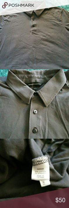 Men's weathered Gray Express Polo Shirt size L This is so soft. It will be his favorite. A muted weathered gray short sleeve polo. For date night, dinner with friends or actual golf. Very nice quality.  Worn a few times. Not my honey's style. He prefers knee socks and old tee shirts. 😂😂😂 Pet friendly home. Express Design Studio Shirts Polos