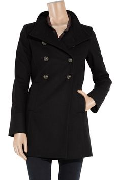 Wool-blend military coat by Faith Connexion; color: black. original price $785 now $392.50