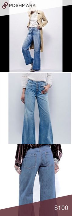 FREE PEOPLE wide leg extreme flare jeans High rise wideleg jeans featuring an exposed button fly and distressed detailing on the cuffs. Four pocket style. 21018. Brand New never wore with out tags  Size: 29  ❤I have over 300 new with tag Free People & More items for sale! I love to offer bundle discounts!  ❤No trades. I know longer discuss pricing in comments. Please use offer button to submit offer! 😊 Free People Jeans Flare & Wide Leg