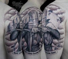 Custom Knight templar tattoo by Miguel Angel tattoo, via Flickr
