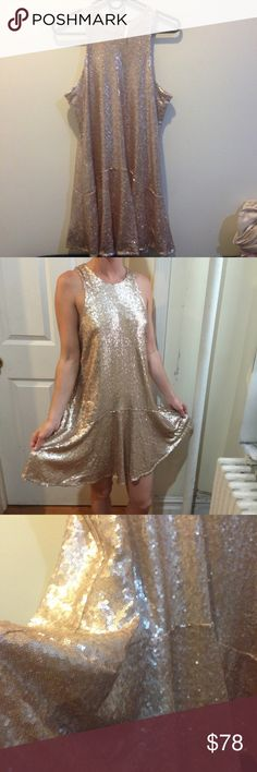 FREE PEOPLE Liquid Gold Sequin Dress Free People gorgeous liquid gold dress! Unworn and a size small- hook and eye closures on the upper neck- lined completely and is sleeveless with a wide cut style (side boob or cute lacey bra). Absolutely stunning and would fit a medium also! Free People Dresses