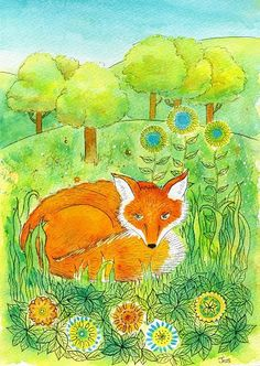 Daydreaming Fox. Art print from my watercolour painting, wall art, A4