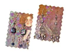 Display earrings on cut postcards. BeadStyleMag.com