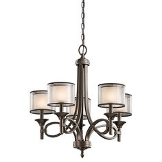 Kichler Lacey Mission Bronze Transitional Chandelier at Lowe's. The Lacey™ 5 light chandelier features a classic look with its Venetian detail of curves in Mission Bronze finish and satin etched cased opal Bronze Chandelier, Candle Chandelier, Chandelier Ceiling Lights, Chandelier Shades, Chandelier Ideas, Candelabra Bulbs, Bronze Pendant, Drum Pendant, Room Lights