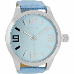 OOZOO Timepieces XXL Light Blue Leather Strap C6604