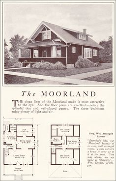 1922 Lewis Homes - The Moorland Craftsman Bungalow Exterior, Bungalow Homes, Craftsman Style Homes, Craftsman Bungalows, Craftsman House Plans, Bungalow Ideas, Craftsman Kitchen, Vintage House Plans, Vintage Homes