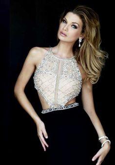 Black Long Sexy Cutouts Beaded Sherri Hill 32069 Prom Dresses 2017