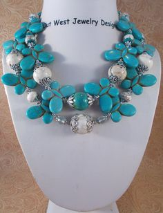 Cowgirl Necklace Set  Chunky Howlite Turquoise   Designed and Created by Outwestjewelry