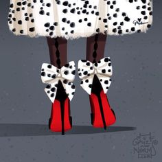 Feeling a bit devilish today. Cruella de Ville  in @louboutinworld dos noeud