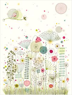 """Jardin enchanté"" - Amélie Biggs cute kawaii japan zakka style pen and ink illustration print of dandelion clocks, flowers and garcen birds"