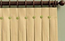 Box Pleat with Buttons Custom Draperies available through Picture Perfect Window Coverings