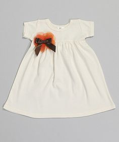 Look at this #zulilyfind! White & Brown Bow Babydoll Dress - Infant & Toddler by Truffles Ruffles #zulilyfinds