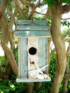Beach Bird House/Beachy Bird House/Garden by BeachyWreaths on Etsy, $32.00