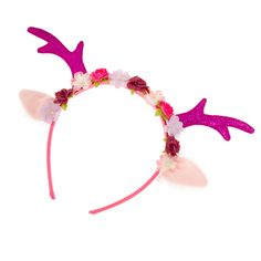 Kids Glitter Antlers and Flowers Headband | Claire's