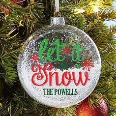 Let it Snow Glitter Glass Ornament