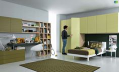 green Contemporary Teenagers Room