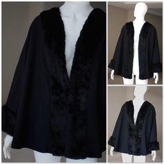 Capa lã fina com pele da Stok Fabre  Poncho / Cape Coat / Pelerine