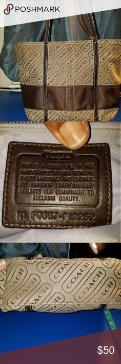 COACH TOTE BAG AUTHENTIC COACH TOTE BAG # F0867-F12252 LILAC LINING W STAIN ON STITCHING FROM ME GOING IN/OUT OF THE BAG LITE STAIN ON BOTTON OF BAG, FROM ME LOADING MY BAG UP LITE SCUFF MARKS ON FRONT OF BAG I HAVE GOTTEN VERY GOOD USE OF THIS TOTE & IT HAS PLENTY OF LIFE LEFT ✔✔✔✔ CLEAN 🚫 OTHER RIPS  🚫 TEARS 🚫 MARKS 🚭 SMOKE-FREE HOME 🚱 NO WATER DAMAGE OTHER THAN THAT EXCELLENT CONDITION  HIT THAT OFFER BUTTON....MAKE ME A OFFER 🚫🚫🚫🚫 LOW BALLS!!!!!! I BOUGHT 2 NEW BAGS, SO THIS ONE…