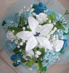 30 Ramos Bouquet para novia en crochet Crochet Flowers, Lana, Shawl, Mandala, Marie, Table Decorations, Crafts, Handmade Purses, Dresses For Babies