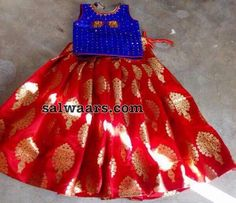 Red Benaras Lehenga Blue Blouse