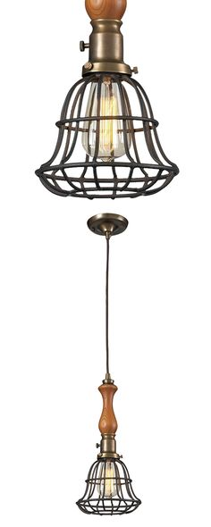 Nautical-chic style that takes no prisoners. Our Nautica Pendant puts the Edison bulb behind industrial bars, then dangles it from a carved wood spindle and metal hardware in a vintage brass finish. It...  Find the Nautica Pendant, as seen in the Modern Meets Old Time Charm in Monterey Collection at http://dotandbo.com/collections/modern-meets-old-time-charm-in-monterey?utm_source=pinterest&utm_medium=organic&db_sku=117835