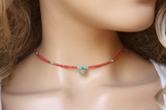 Winzige Perlen Choker Halskette, Jewel rot Samen Perlen einfach Schmuck