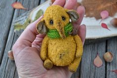 "OOAK Friend teddy bear elephant ""Kokie"", artist elephant, stuffed elephant, teddy elephant, handmade elephant, vintage plush toy, soft toy"