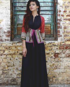 Shop online Kanjari black dress with jacket Blockprint koti jacket with inside full length black dress Designer Kurtis, Designer Dresses, Kurti With Jacket, Jacket Dress, Jacket Style, India Fashion, Ethnic Fashion, Indian Dresses, Indian Outfits