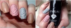 Love Chevron: Manicure hybrydowy Semilac Nuts & Caramel 139, Stylish Gray 105 & Classic Nude 004 w macie + róże 3D