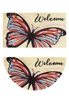 Zerbino in cocco con fondo in vinile - Stampa farfalla. Disponibile in forma rettangolare e a mezzaluna.