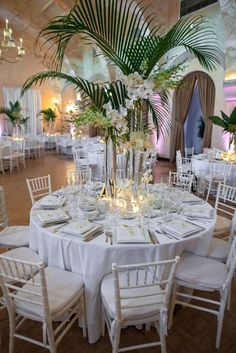 Wedding & Event Centerpiece Inspiration Event Styling Crew can create a similar. [ Wedding & Event Centerpiece Inspiration Event Styling Crew can create a similar look for your Wedding or Event - www. Tropical Centerpieces, Modern Centerpieces, Wedding Table Centerpieces, Wedding Decorations, Table Decorations, Wedding Ideas, Trendy Wedding, Centerpiece Ideas, White Orchid Centerpiece