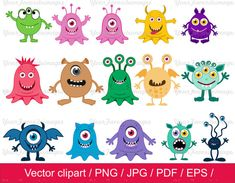 8-JDI / Little Monster-Clipart / Monster-ClipArt / Monster Vektor / Instant download / für private und kommerzielle Nutzung / AI
